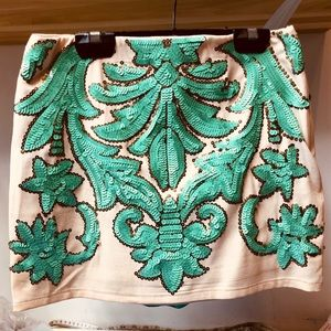 Dresses & Skirts - Creme Green Embroidered sequin mini skirt small